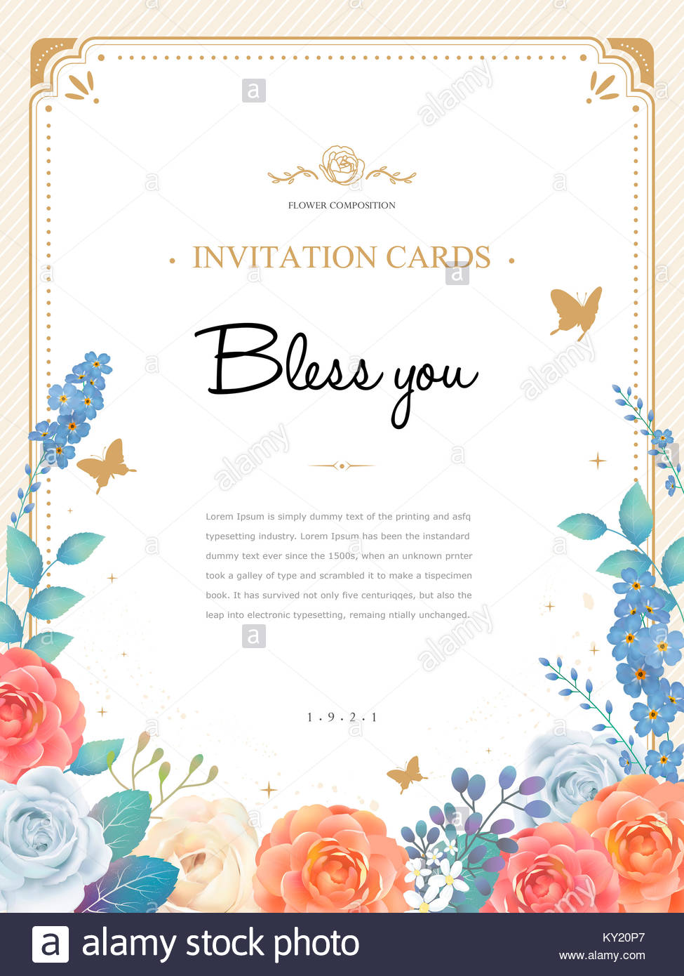 Romantic roses invitation template design in watercolor style stock romantic roses invitation template design in watercolor style stopboris Image collections