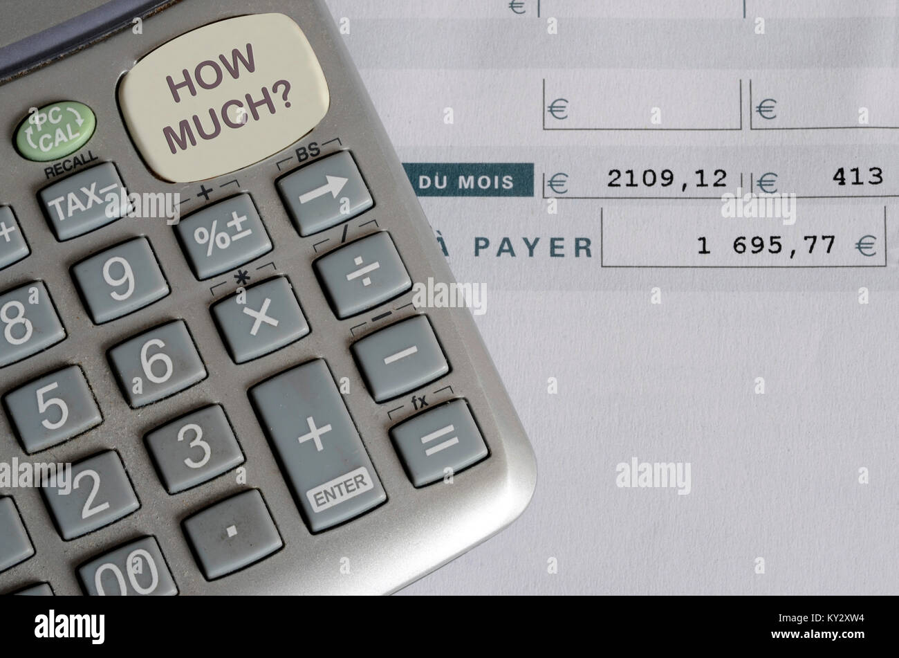 Euro Pay Slip And Calculator, Close Up For Payroll Or Salary Background,  French Mention Net To Pay  Salary Calculator