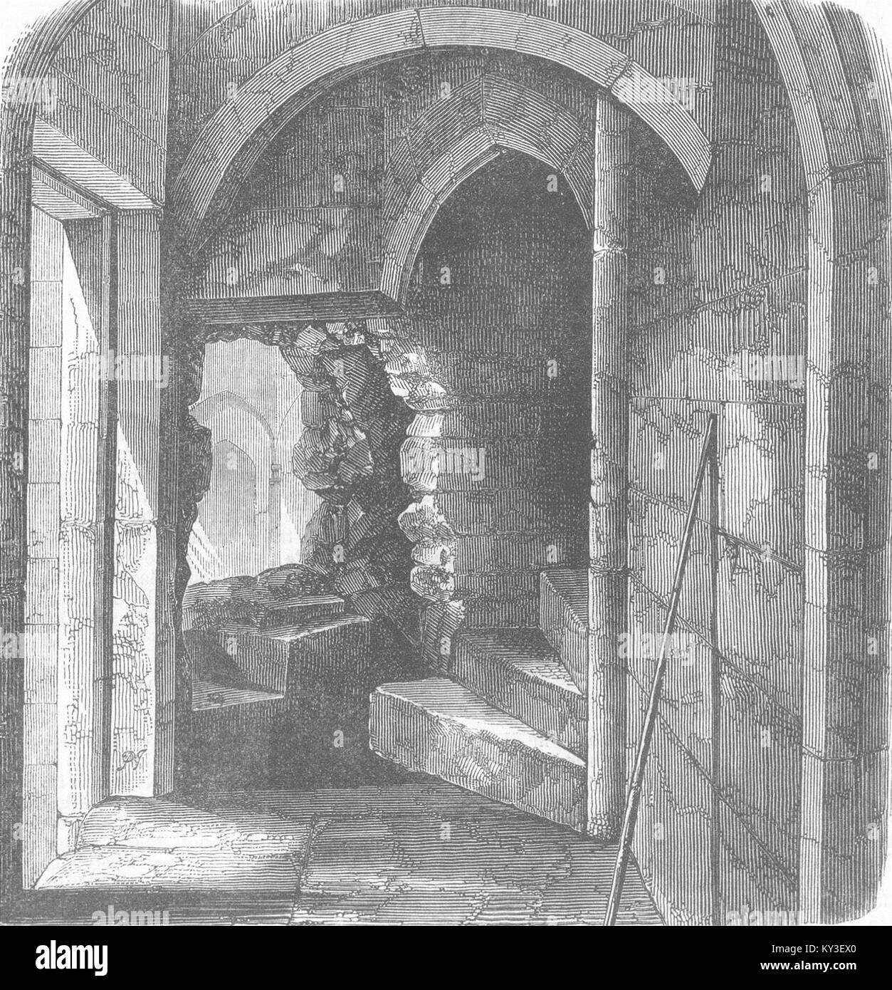 LONDON Secret Stairs, Bloody Tower, Tower Of London 1868. Illustrated  London News