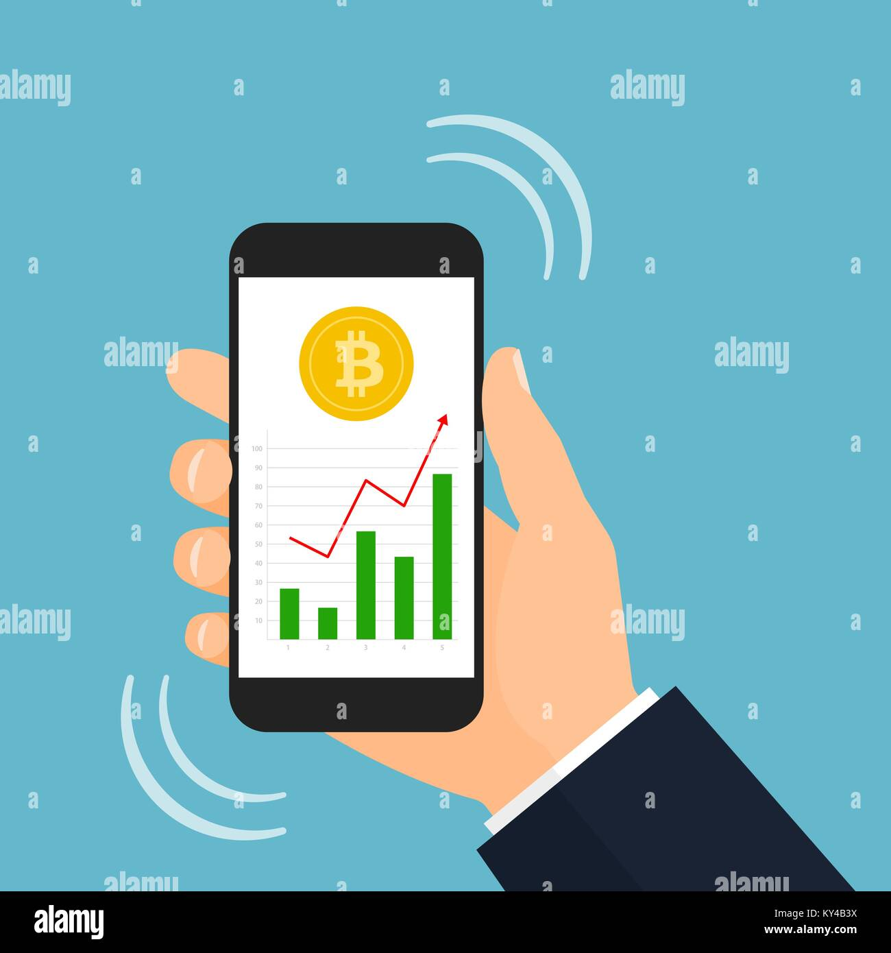 Bitcoin trading stock photos bitcoin trading stock images alamy bitcoin trading graphic on smartphone screen vector illustration stock image buycottarizona Choice Image