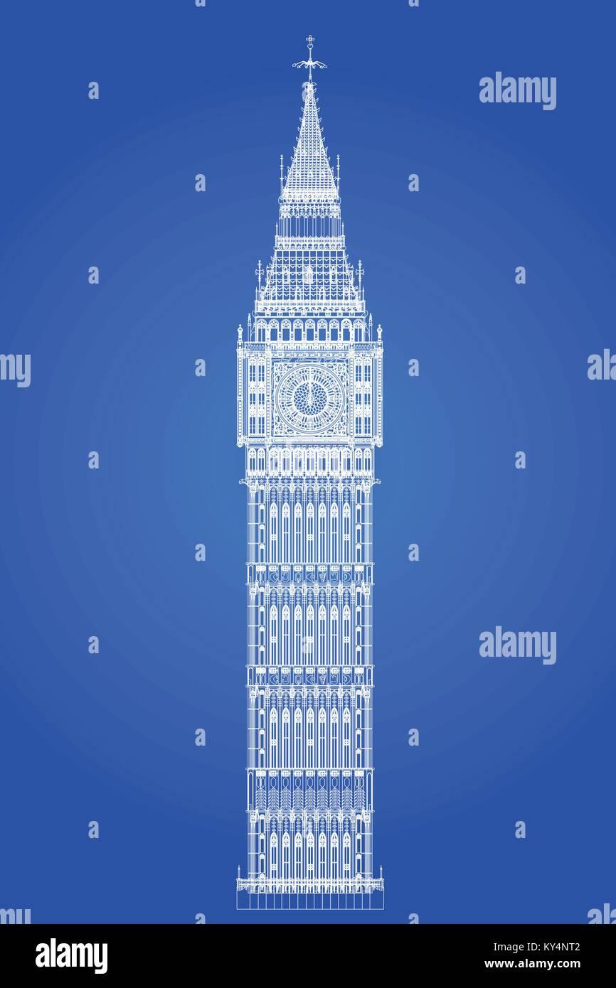 The london landmark big ben clocktower as a blueprint stock vector the london landmark big ben clocktower as a blueprint malvernweather Choice Image