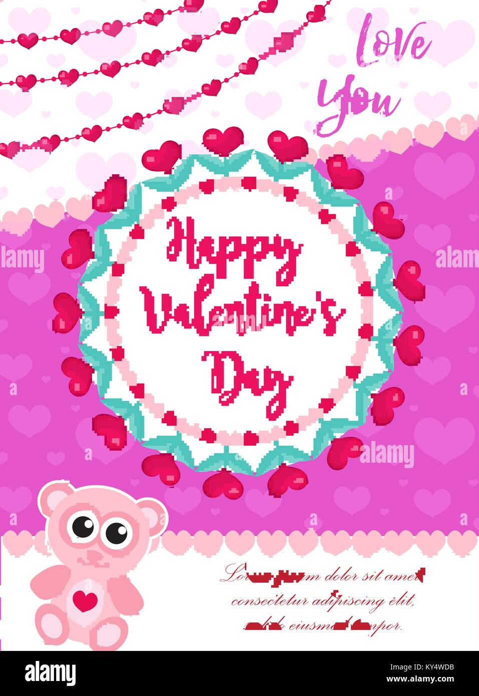 Happy Valentines Day Cute Poster Invitation Greeting Card Stock