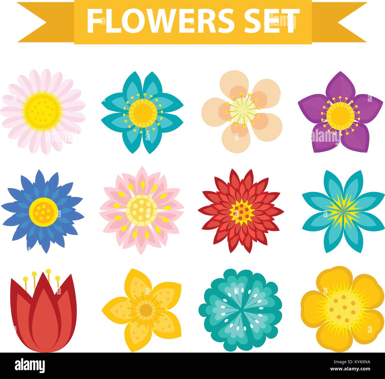 Flowers and leaves icon set flat style floral collection floral collection isolated on white background spring summer design elements for invitation wedding or greeting cardsctor illustration stopboris Choice Image