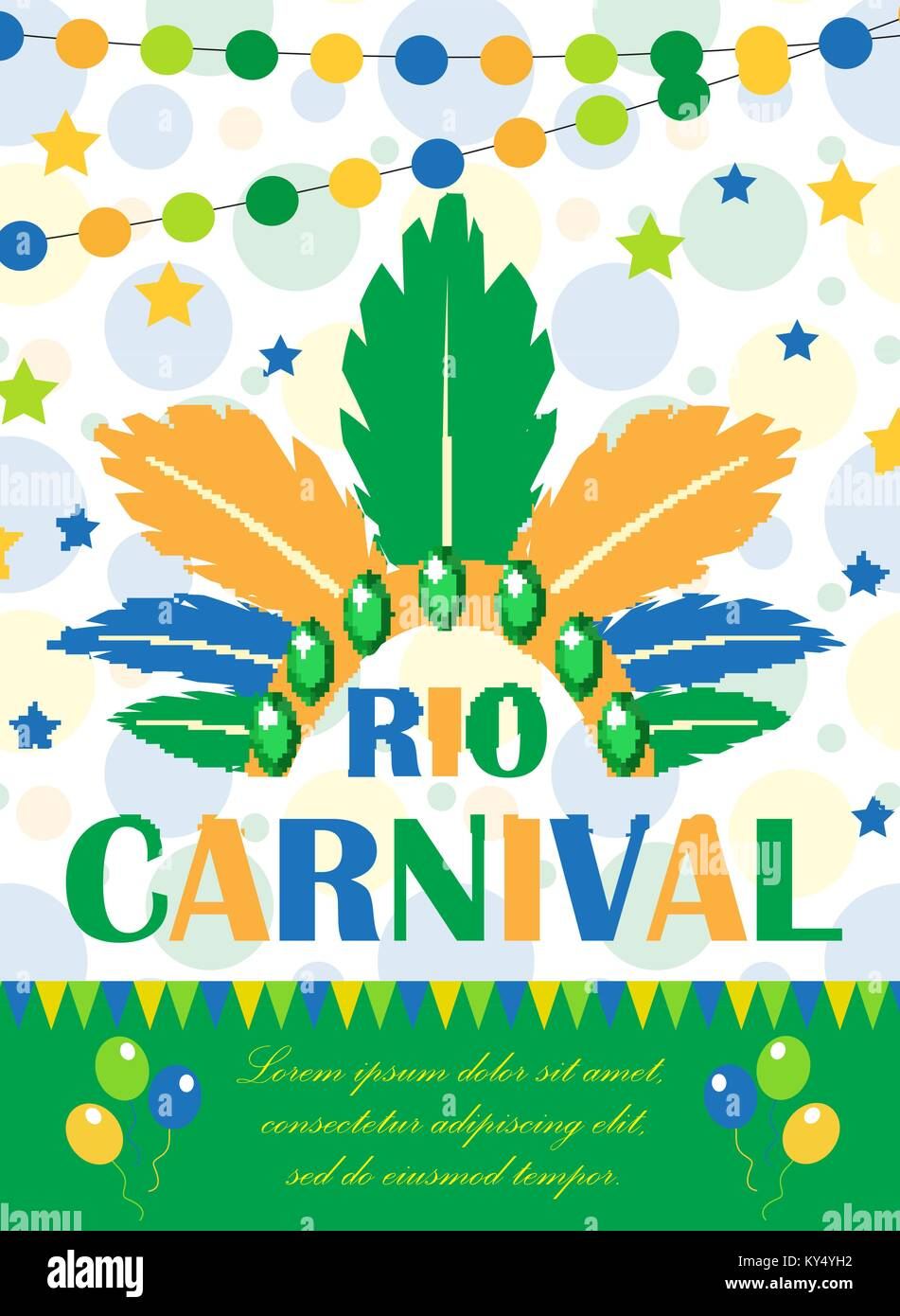 rio carnival poster invitation flyer template for your design