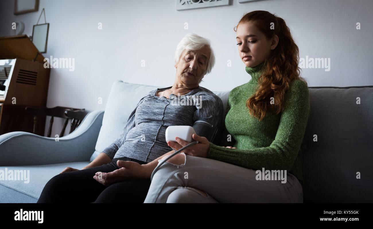 Living Room Grandmother Man With Box