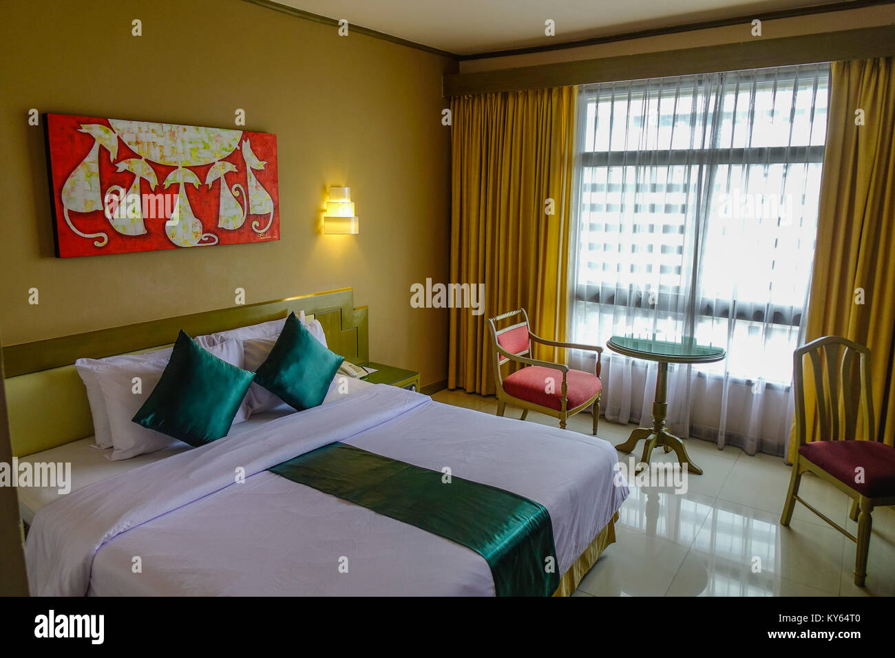 Bangkok thailand jun 18 2017 double bed room of luxury modern hotel in bangkok thailand bangkok is the capital and largest city in thailand