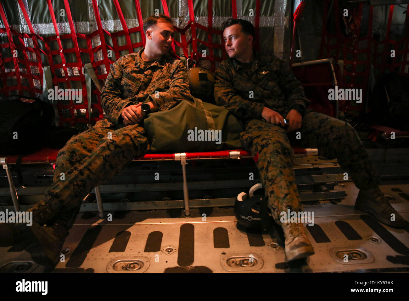 wetblog. LS island 004' Sgt. Brendan Tuxbury, left, and Sgt. Justin Belcher, parachute riggers with