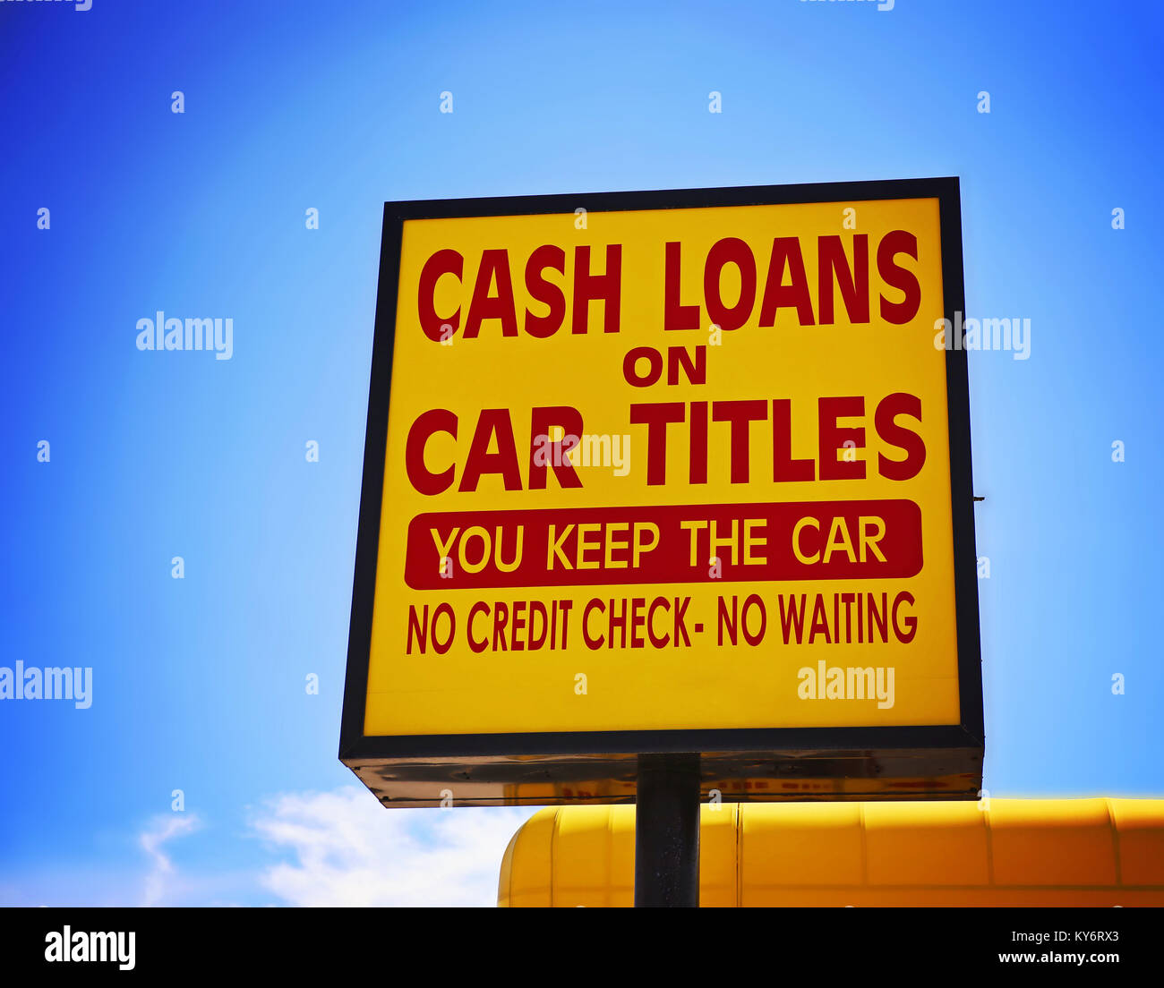 A Cash Loan Or Car Title Loan Sign In The Summer Time Toned With A
