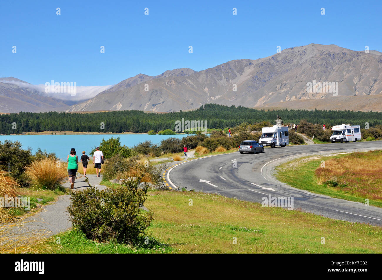Motorhome new zealand stock photos motorhome new zealand for Lake tekapo motor camp