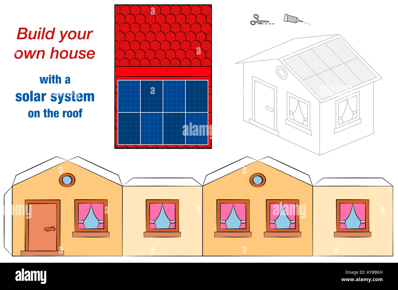 house template with solar panel collectors on the roof