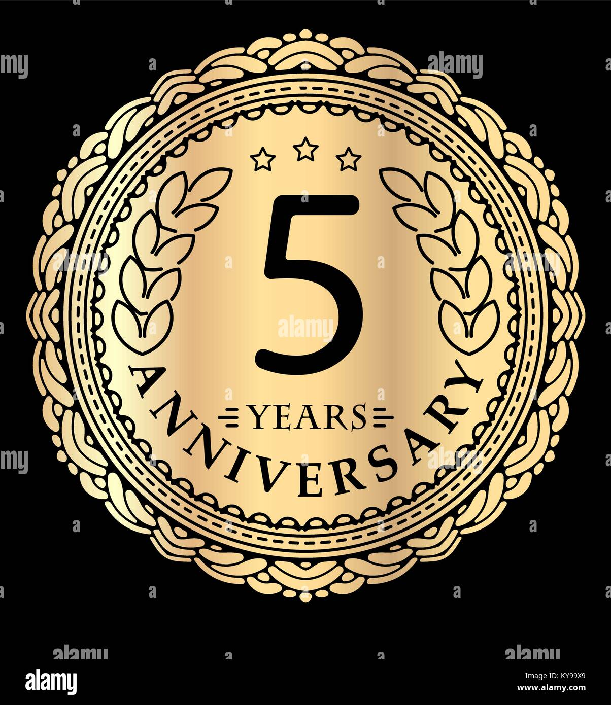 Vintage anniversary 5 years round emblem in mono line style retro vintage anniversary 5 years round emblem in mono line style retro styled vector decor in gold tones on black background biocorpaavc Gallery