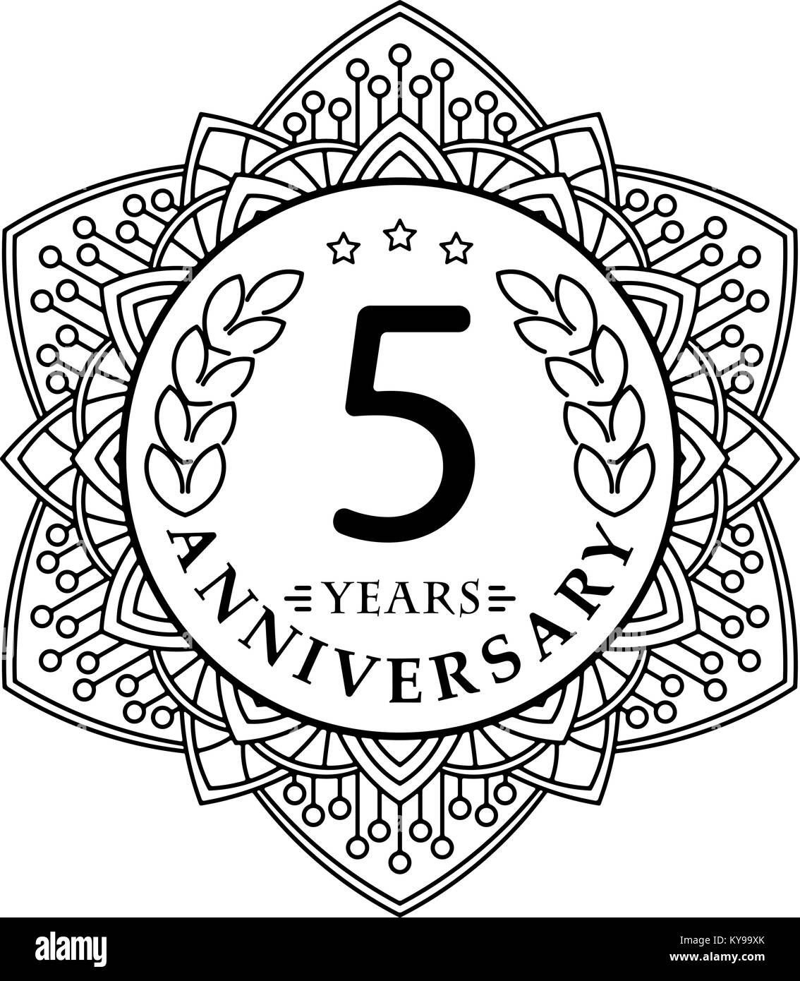 Vintage anniversary 5 years round emblem in mono line style stock vintage anniversary 5 years round emblem in mono line style biocorpaavc Gallery