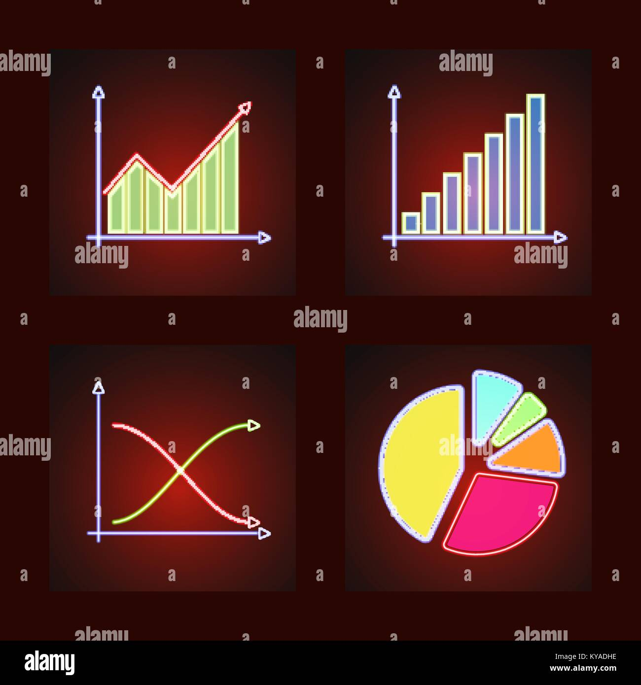 Set of business and statistical graphs in glowing neon bar line set of business and statistical graphs in glowing neon bar line graphs and pie chart nvjuhfo Image collections