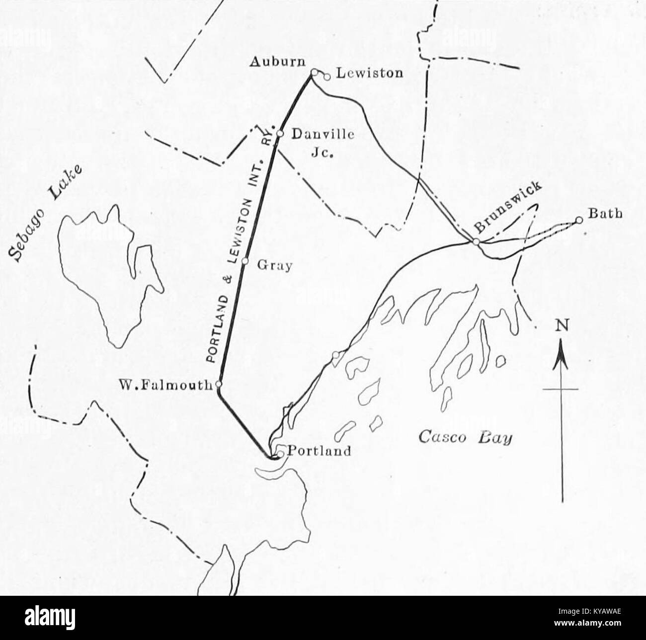 Map of PortlandLewiston Interurban and connecting lines 1915 Stock