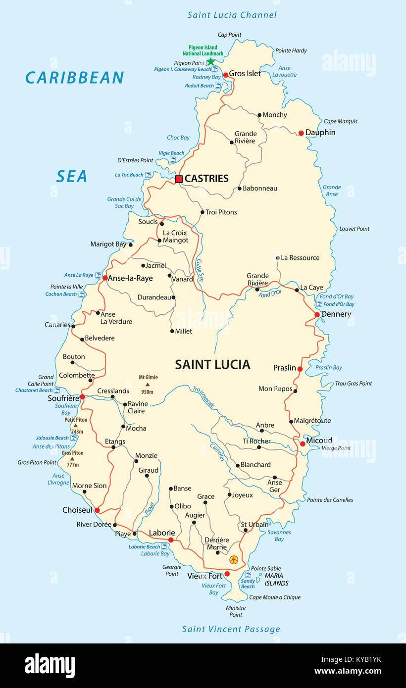 saint lucia road and beach vector map Stock Vector Art