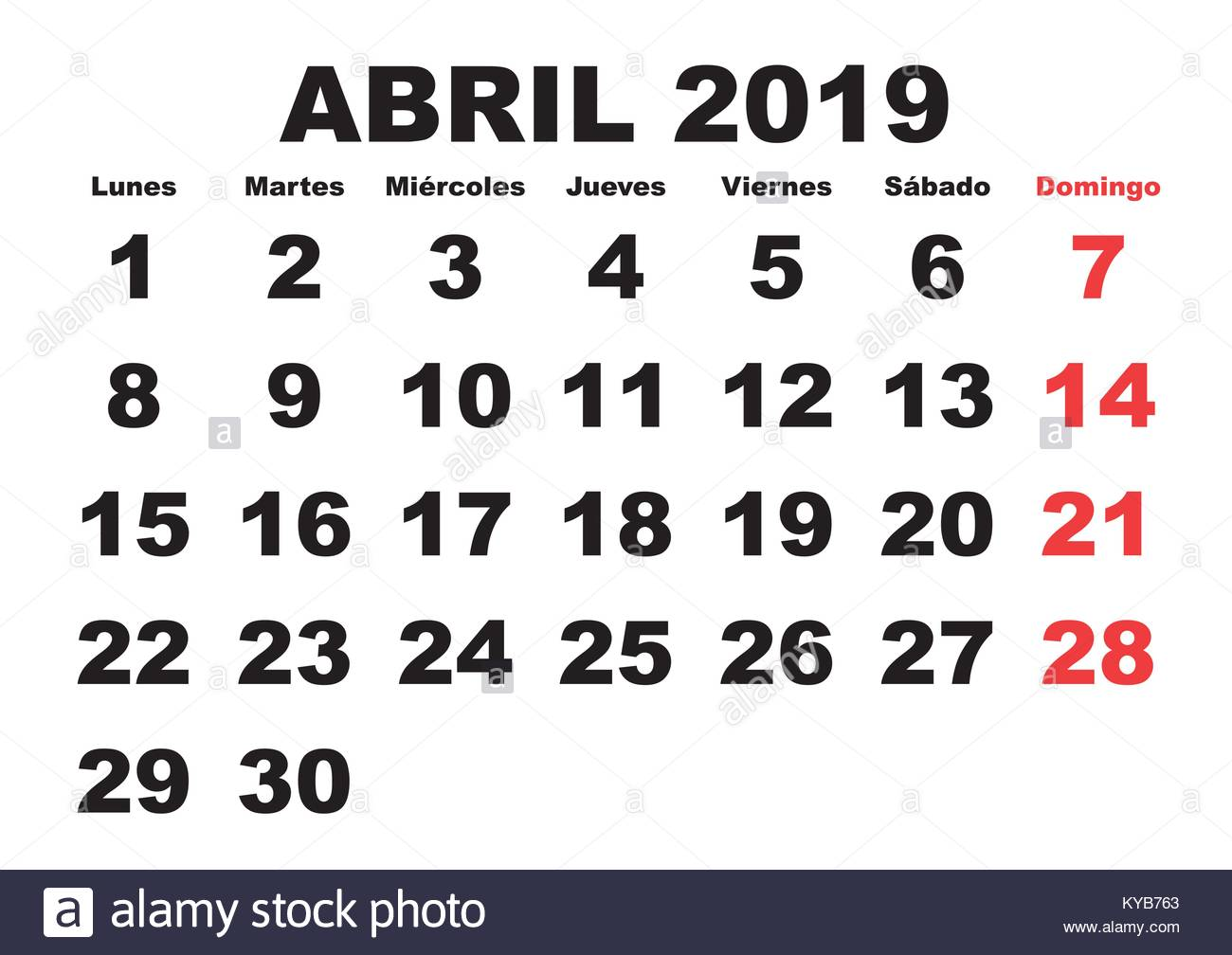 april month in a year 2019 wall calendar in spanish abril 2019