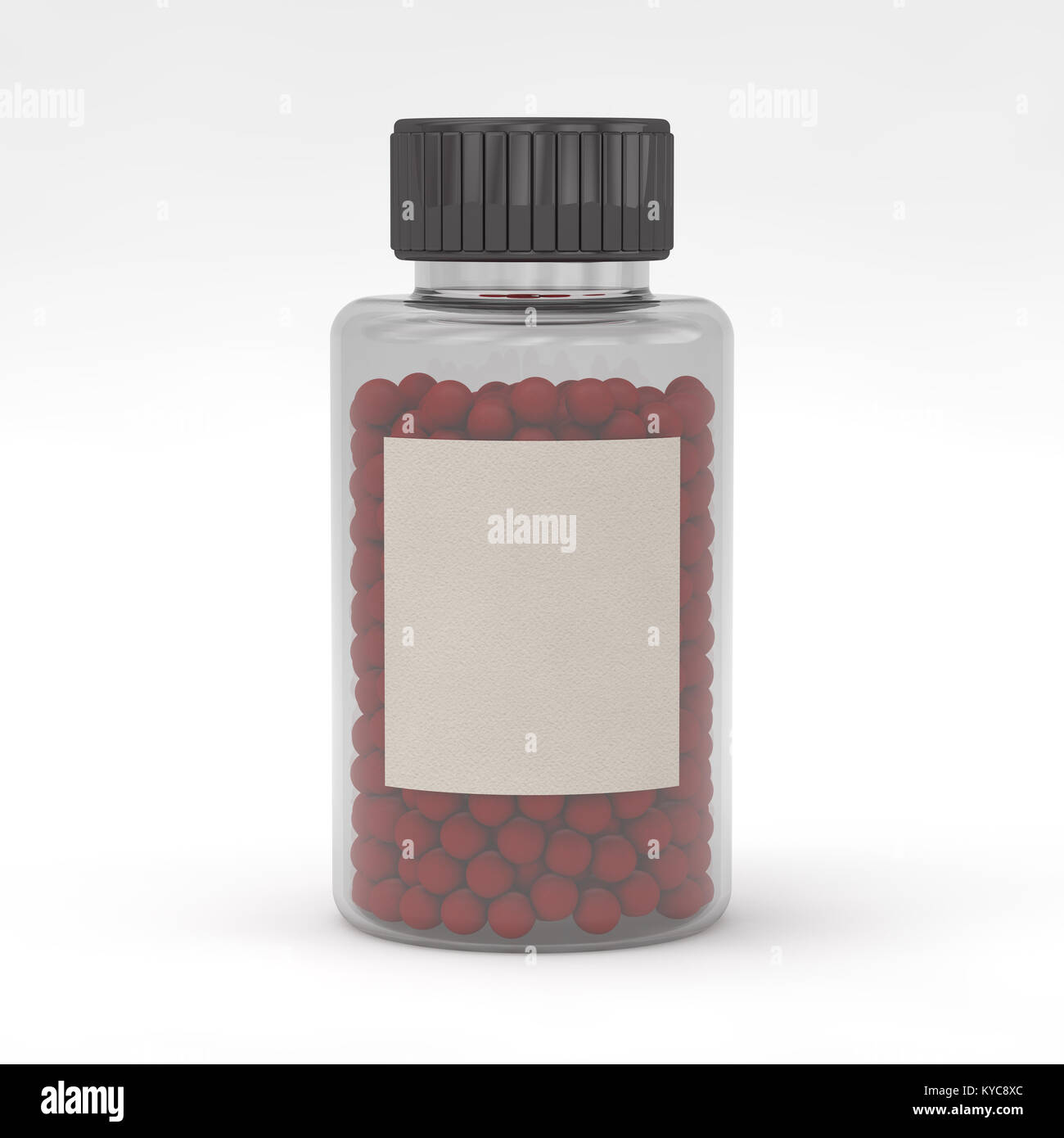 blank template of glass jar with cap for pills 3d mockup medical