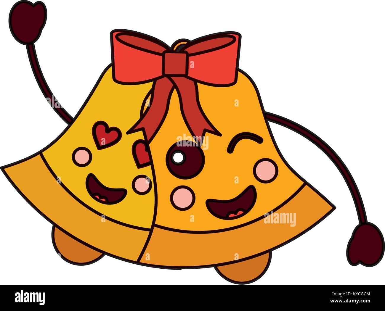 kawaii christmas jingle bell cartoon vector illustration Stock ...