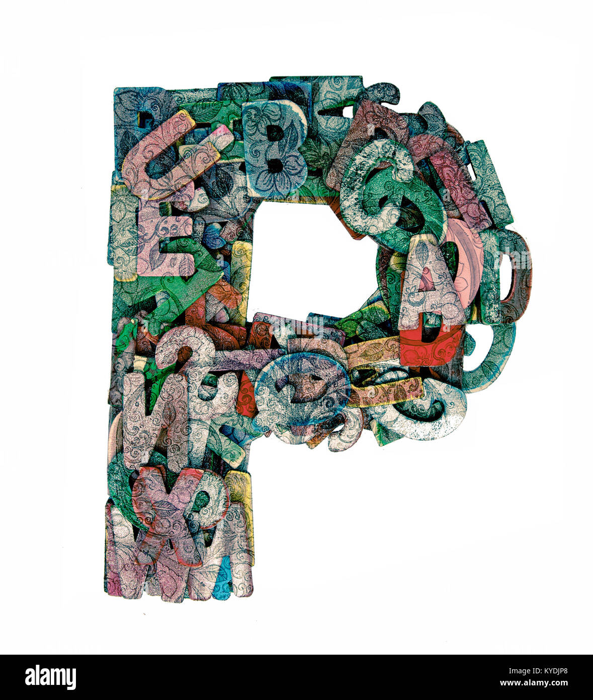 lots of small wooden letters to make up the letter p