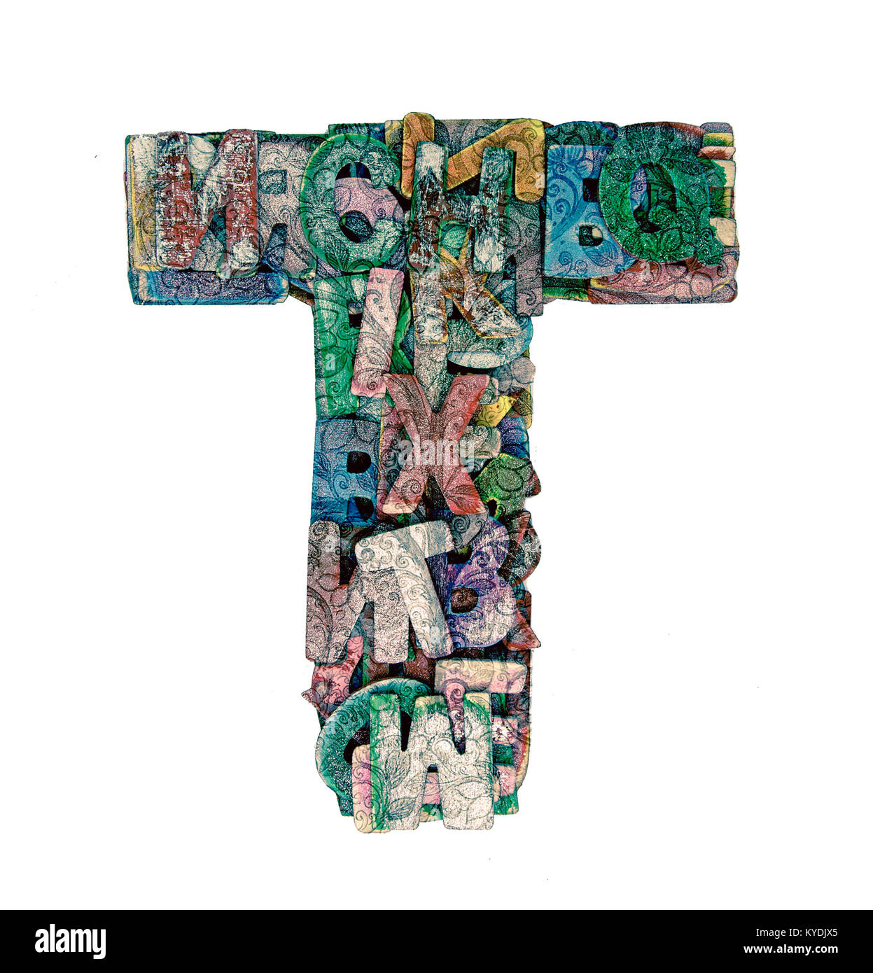 lots of small wooden letters to make up the letter t