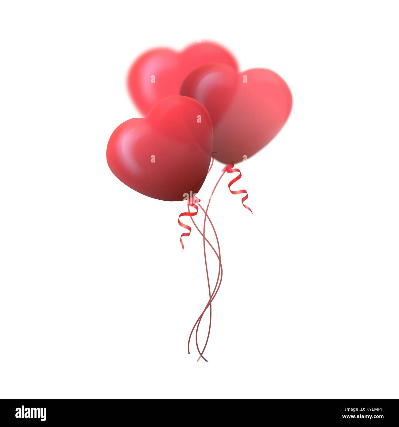 Happy Valentines Day Greeting Card 3d Red And Pink Balloon In F