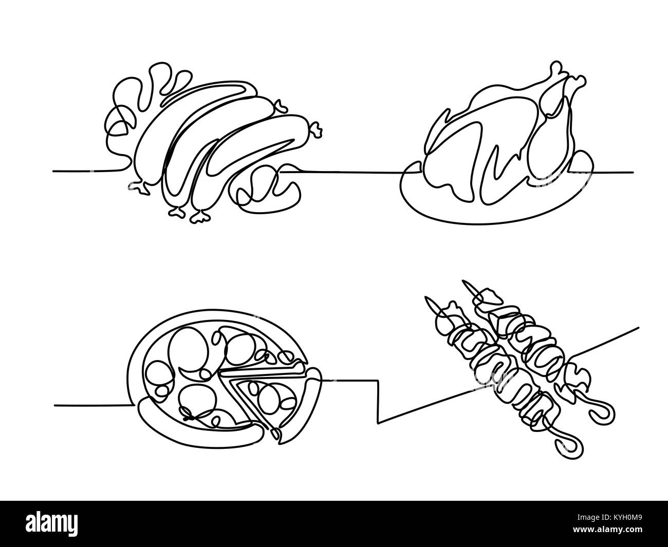 Line Drawing Food : Line drawing food stock photos
