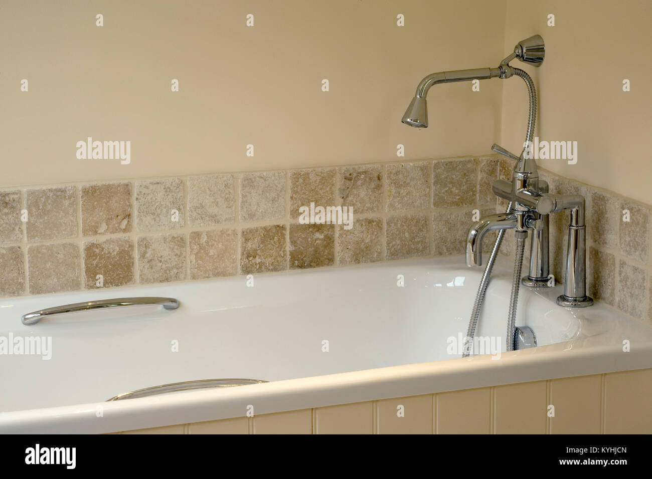 Showhome bathroom, brand new bath taps and shower head Stock Photo ...