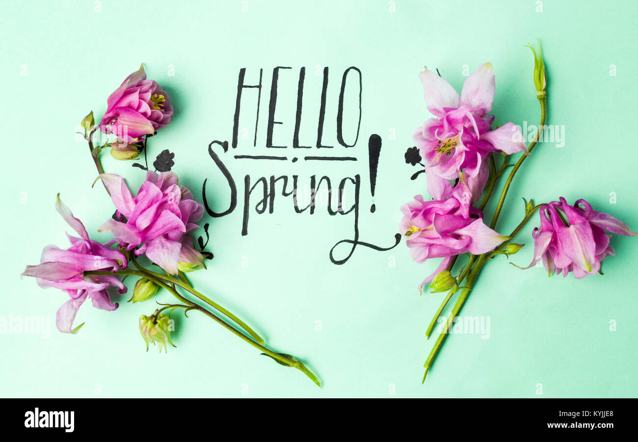 Handwritten Hello Spring Card With Pink Flowers On Green Paper