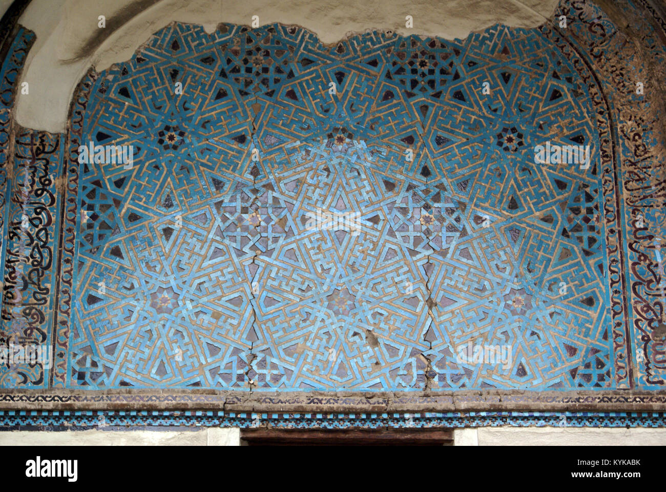 Blue tiles on the wall of mosque in Konya, Turkey Stock Photo ...