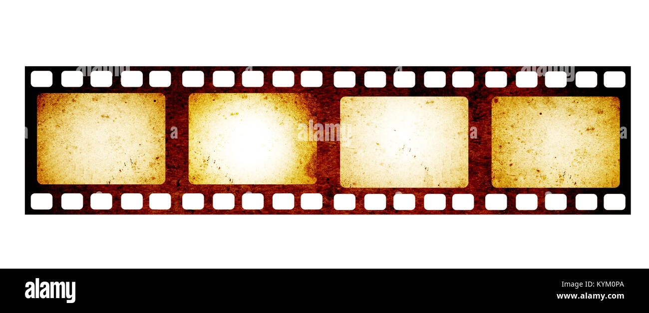 retro filmstrip with four frame on film and grunge paper texture