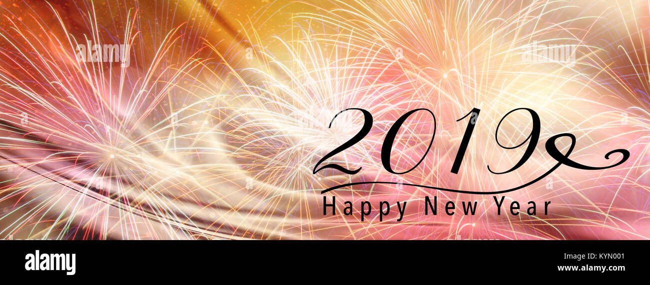 banner style background facebook fireworks on an abstract backdrop with silk fabric happy new year 2019 quote perfect for social media campaigns