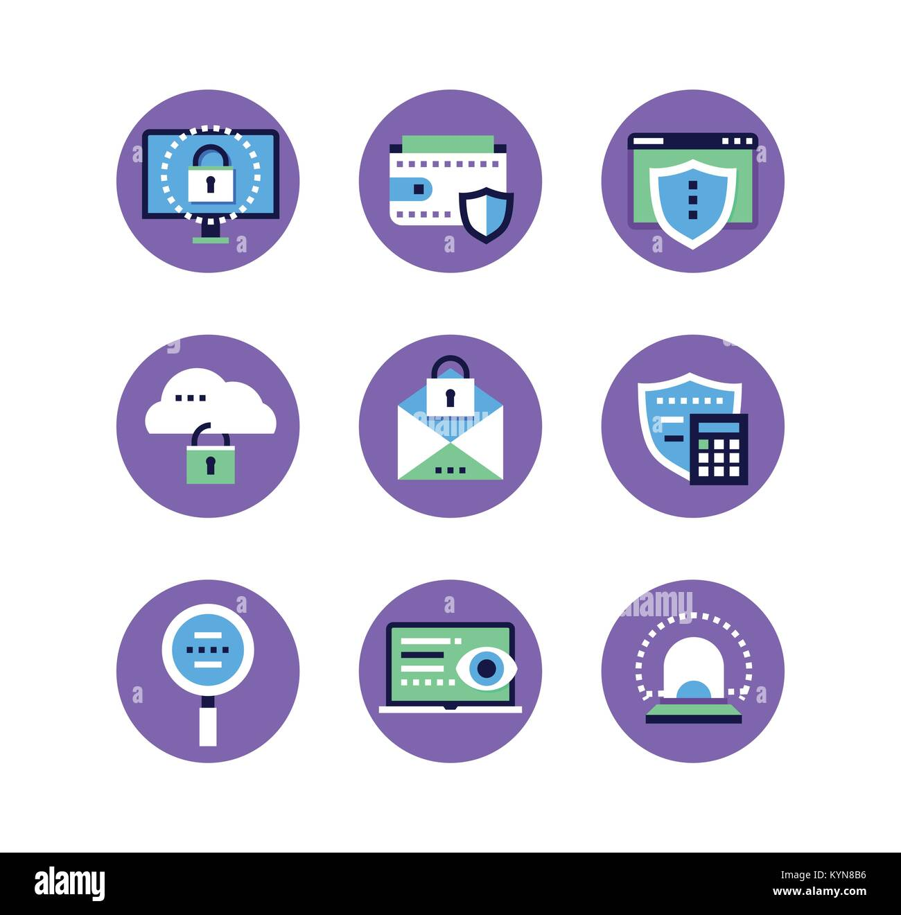 Information Security Data Protection Set Of Flat Design Style Icons