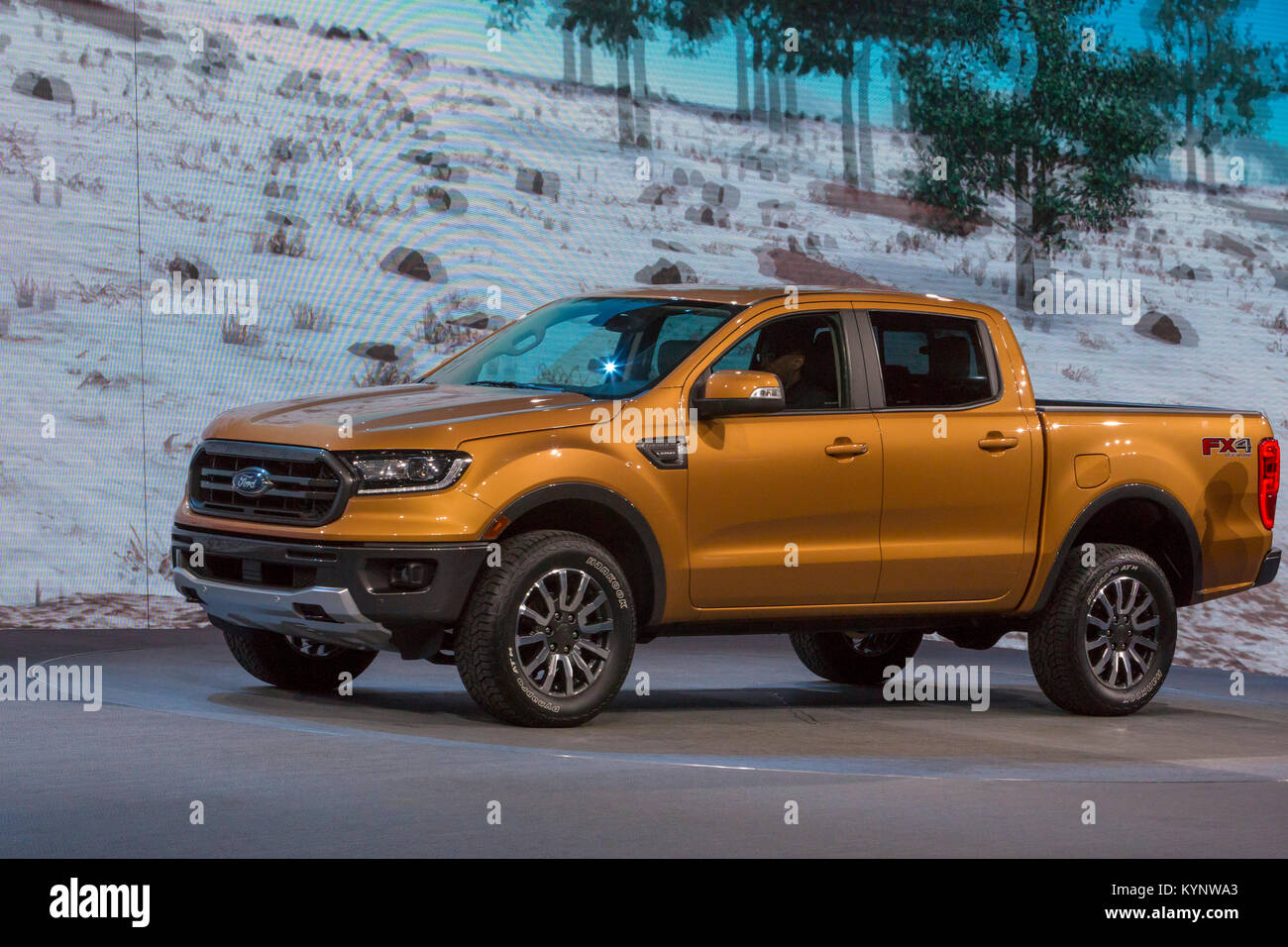 Detroit michigan usa 14th jan 2018 the new 2019 ford ranger fx4 at the north american international auto show credit jim west alamy live news