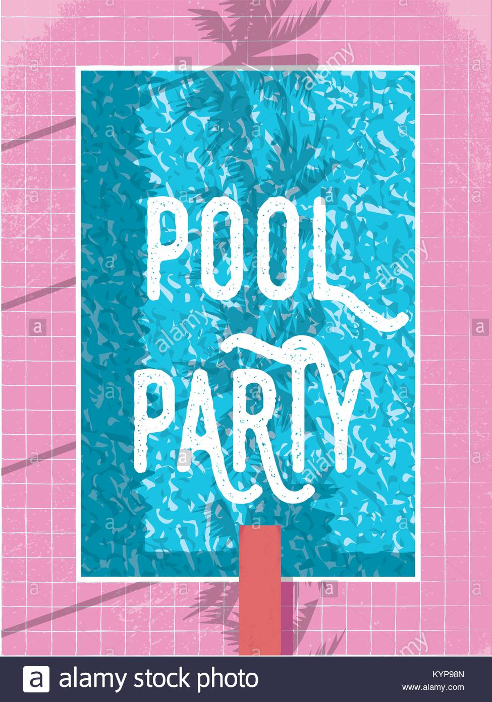 Summer pool party invitation or poster template with vintage retro ...