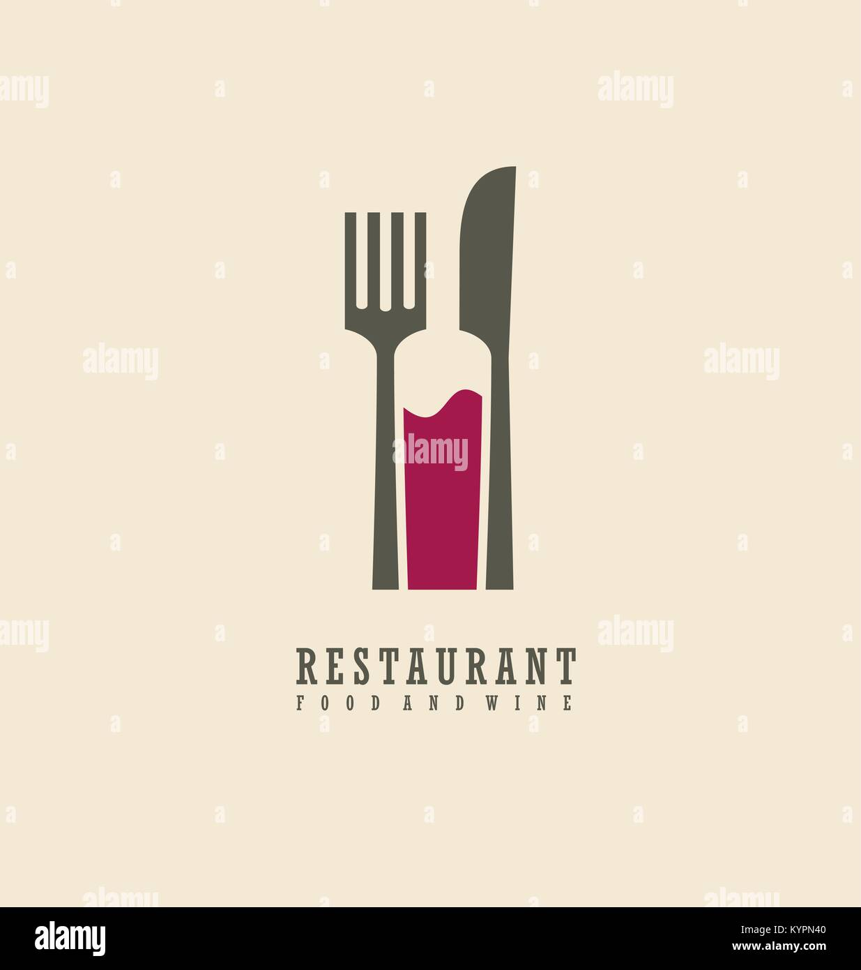 Restaurant logo with knife fork and wine bottle in negative space restaurant logo with knife fork and wine bottle in negative space food and wine symbol design buycottarizona Image collections