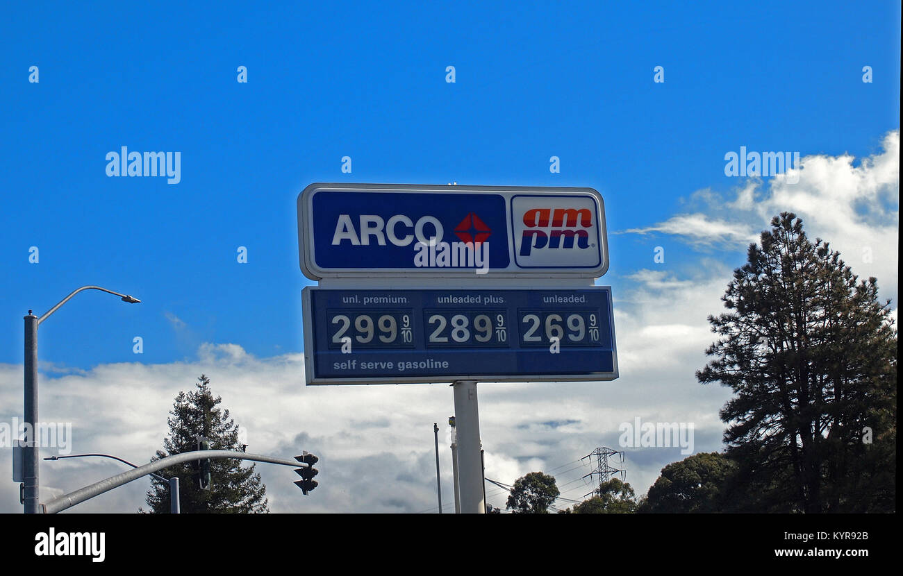 Arco Gas Station Sign At Ampm Store California Stock Photo