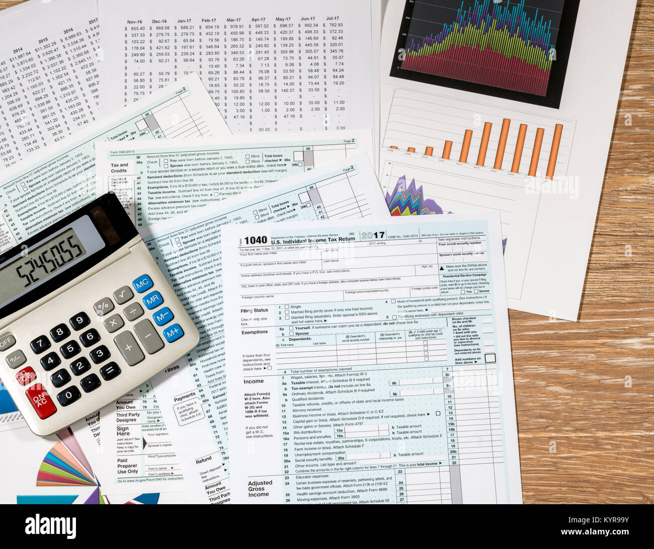 From above view of 2017 IRS form 1040 on wooden desk Stock Photo ...