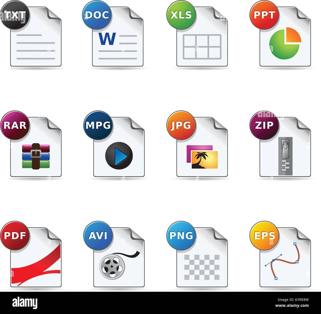file formats icon set stock vector art illustration vector image