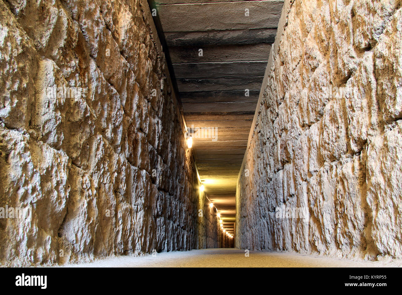 long tunnel inside hill in gordion near ankara turkey stock photo