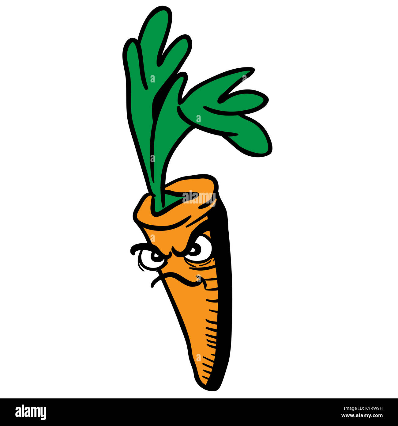 Angry Carrot Cartoon Illustration Isolated On White Stock Photo