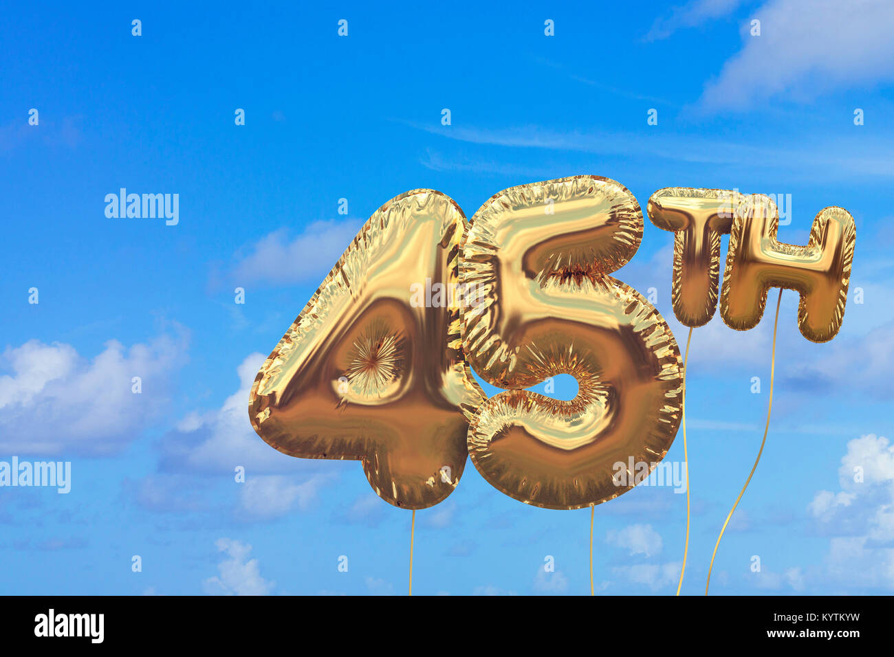 Gold Number 45 Foil Birthday Balloon Against A Bright Blue Summer Sky Golden Party Celebration 3D Rendering