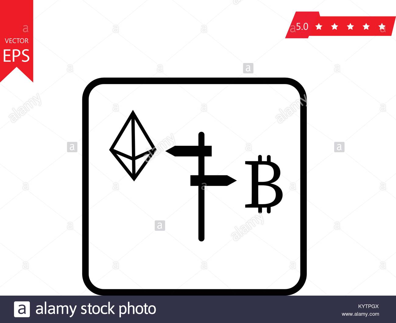 Ethereum Vs Bitcoin Icon For Internet Money Crypto Currency Symbol