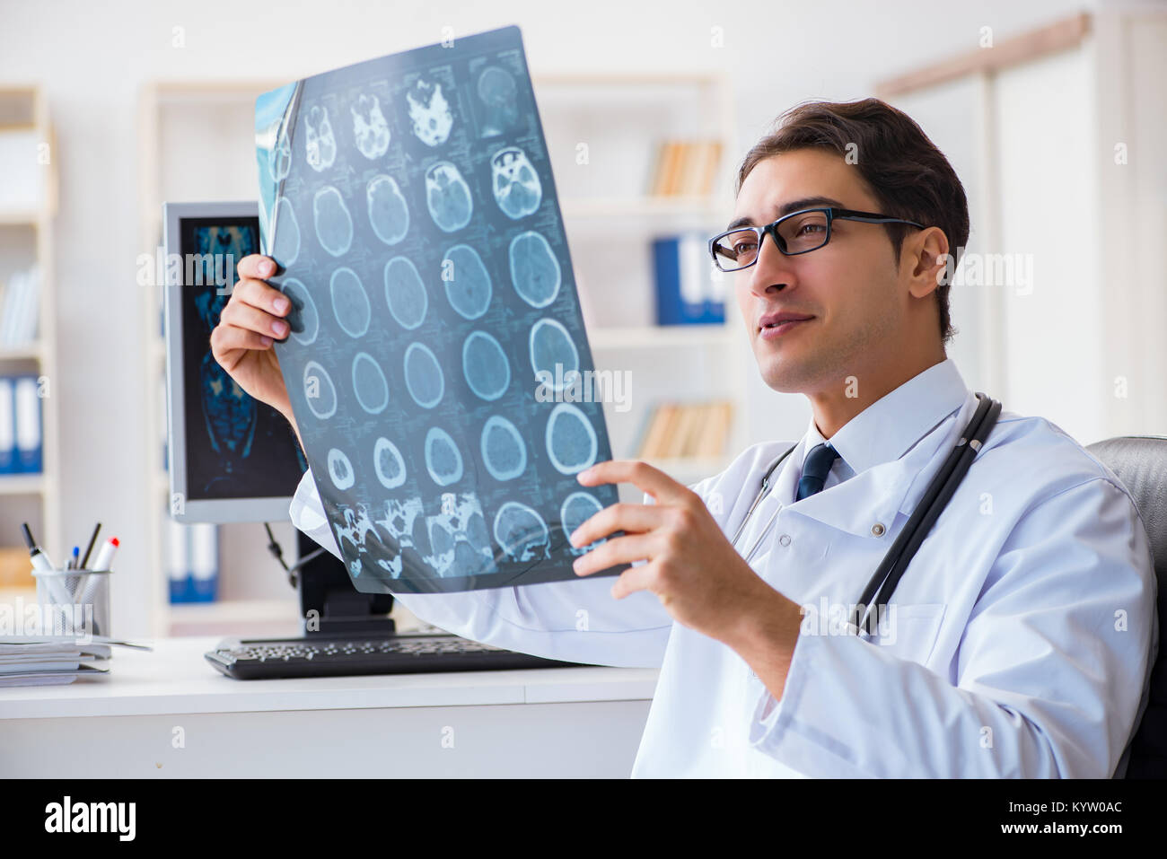 Doctor Radiologist Looking At X Ray Images Stock Photo 172038116