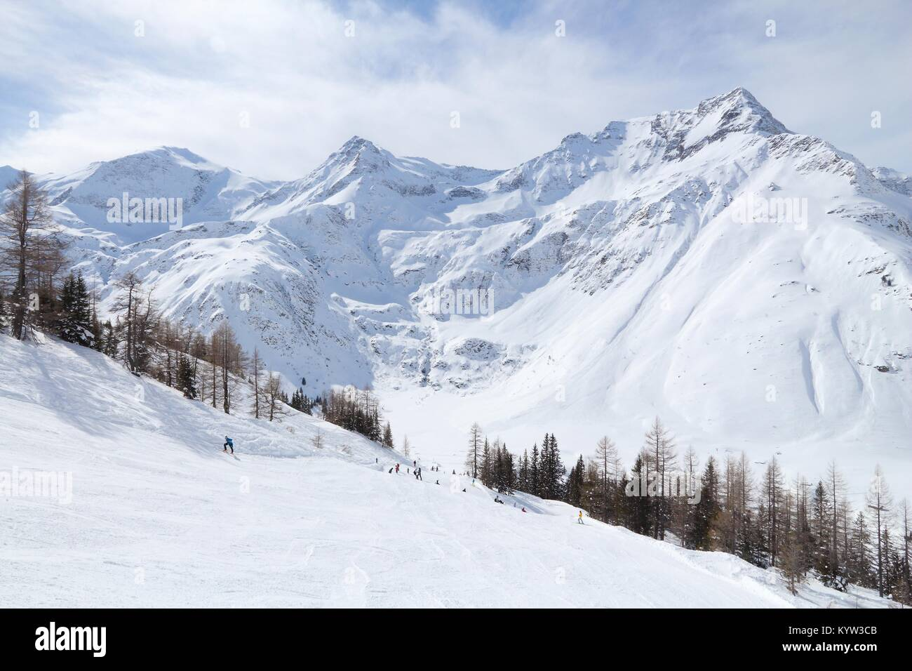 sportgastein ski resort in austria. snow in alps - hohe tauern range