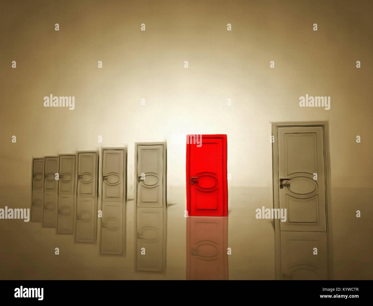 Surrealism seven white doors and one red door symbolizes choice seven white doors and one red door symbolizes choice 3d rendering biocorpaavc Images