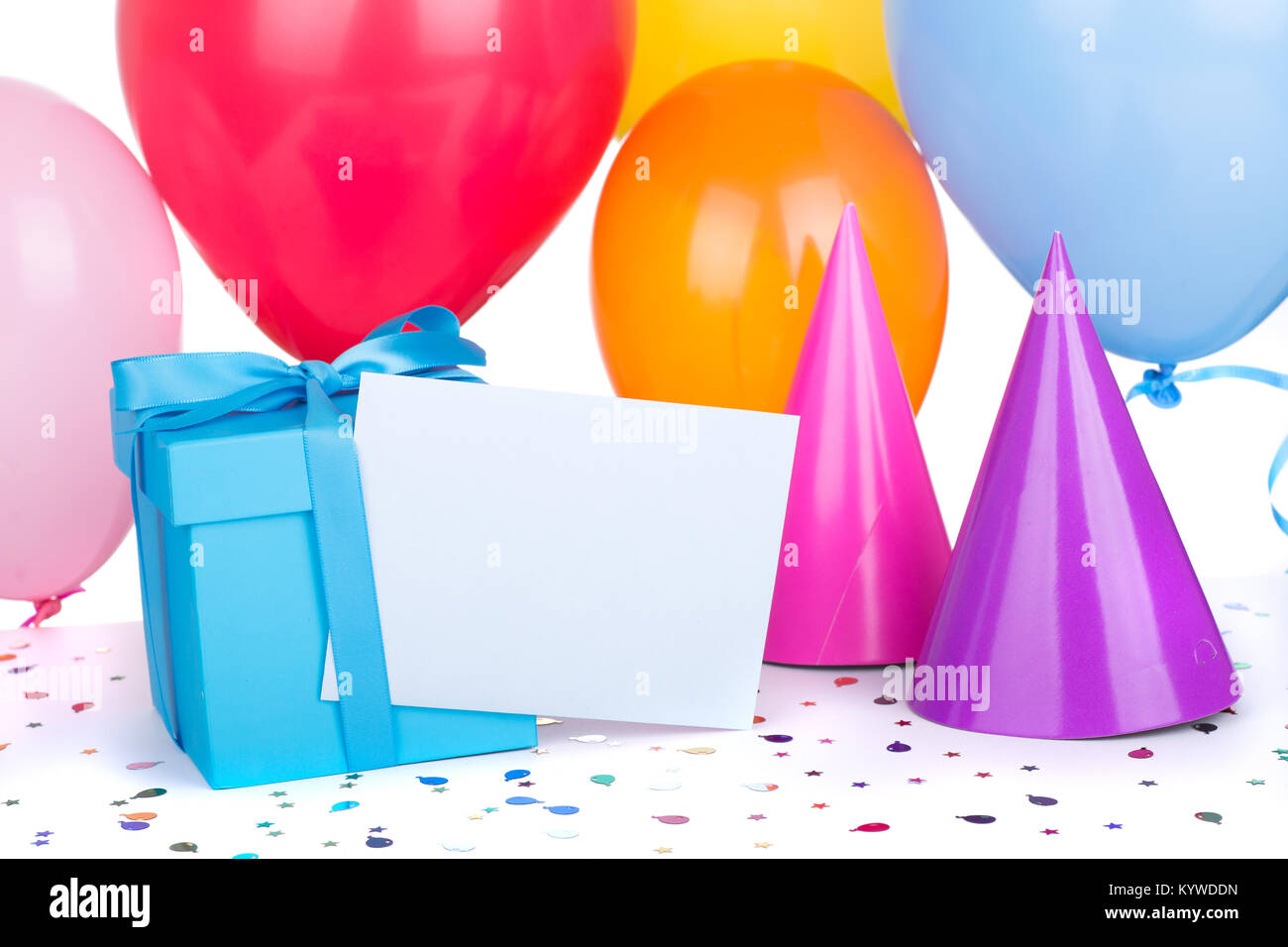 Blue Birthday Gift Box With Balloons And Party Hats Stock Photo