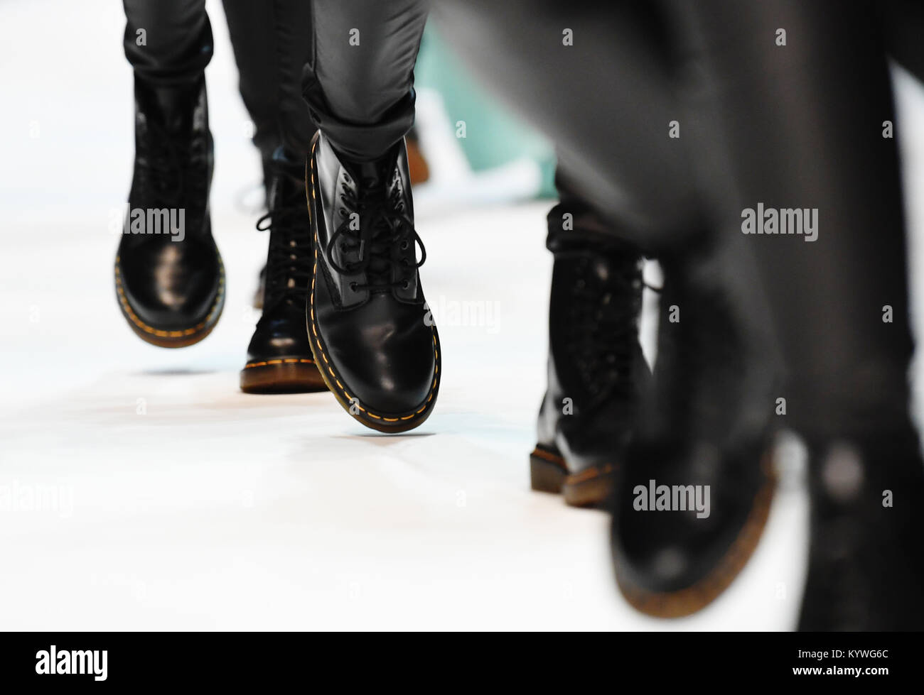 3ef702d974ce6e Models wearing Dr. Martens boots at the presentation of the Fall Winter  2018 collection of the Italian fashion label