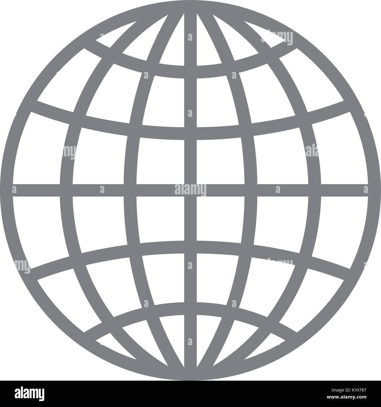 Wireframe globe icon - planet symbol Stock Vector Art & Illustration ...