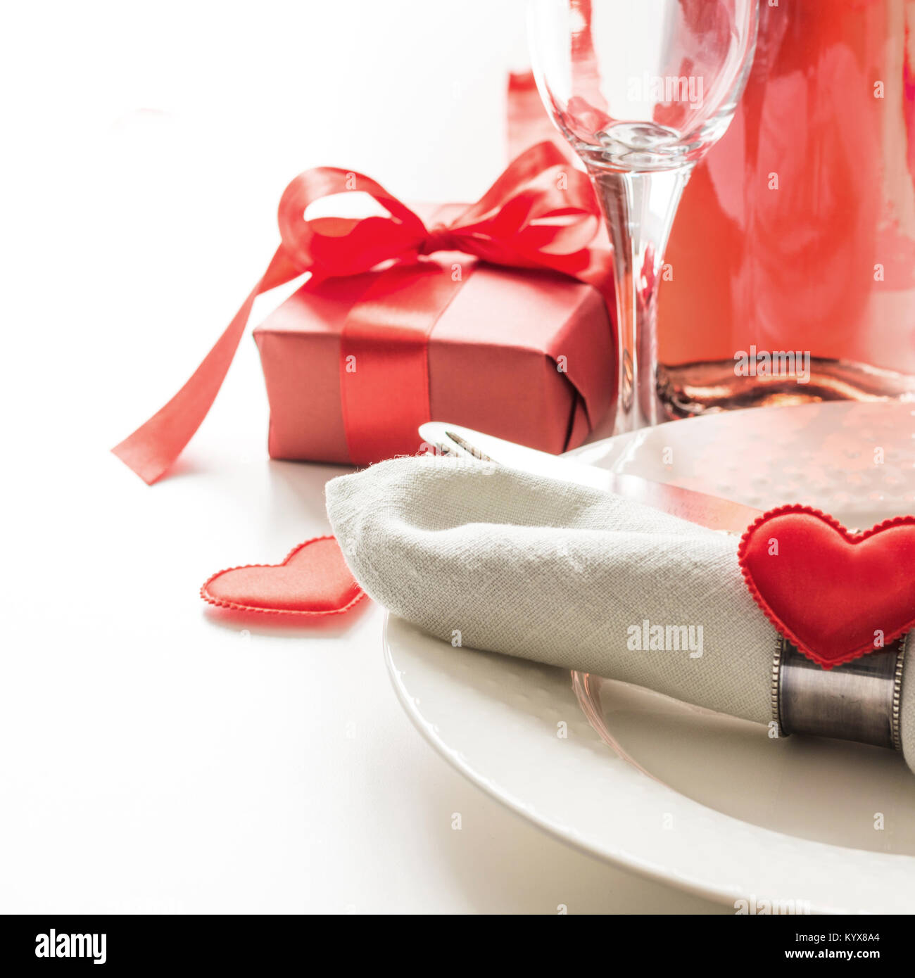 Valentines Day Dinner With Table Place Setting With Red Gift A