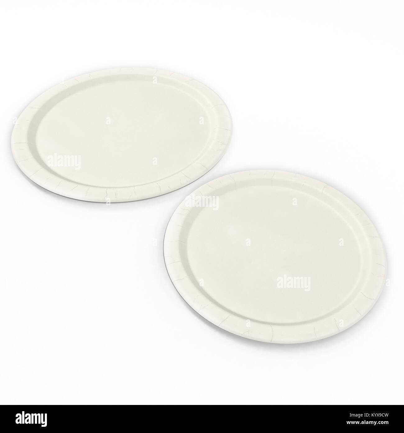 Disposable paper plates Set isolated on a white. 3D illustration ...